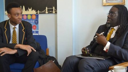 Lord Victor Adebowale visited St Bon's in Forest Gate where he met many of the pupils including depu