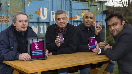 Cllr Forhad Hussain (r), Russ Wiseman (l), and Jeff Jones (second right) members of the First Avenue