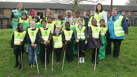 Pupils and staff from Rosetta Primary School in Custom House are picking up litter as part of their