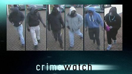 Police want to trace these six men in connection with the aggraveated burglary. Picture: BBC/Crimewa