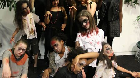 A flashmob in the sqaure outside Stratford East Picturehouse performing the Thriller dance by Michea