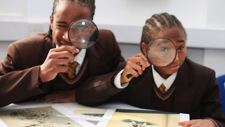 Pupils Sean Rolle, left, and Marcus Napa, of St Bonaventure�s School, take part in a science worksho