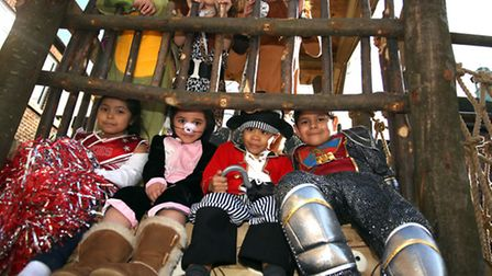Children from Reception to Year 6 from Mayespark Primary School in lford in costumes for World Book
