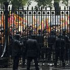 Members of the Fire Brigades' Union protesting over pensions outside the gates to Downing Street las