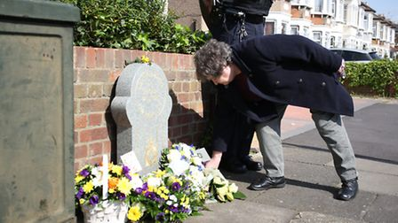 PC Walters mother, Jean Miller, laid a floral tribute by the memorial stone dedicated to him.