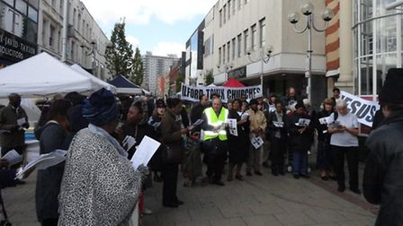 The procession called at the Exchange shopping centre. Picture: Peter Musgrave.