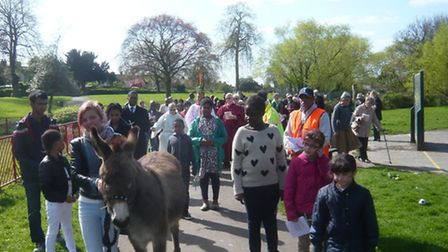Brambles the donkey led the annual Palm Sunday procession organised by St Paul's Goodmayes in Barley