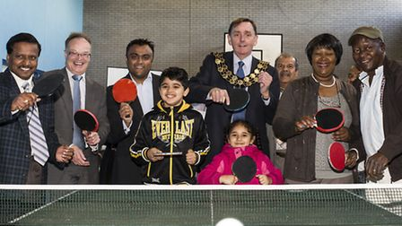 Sir Robin Wales joins residents at the launch of Ping Pong Newham