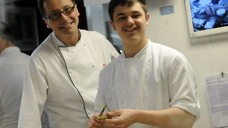 Schoolboy Brandon Walsh with Michelin star chef Alexis Gauthier
