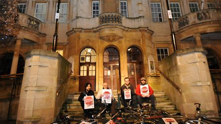 Cyclists protest outside Redbrige Town Hall after a cyclist is killed. Fom left to right: Dave Wong,
