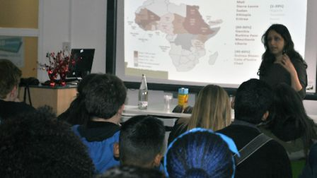 Forward UK's Dina Baky talks to studens at Newham College about FGM