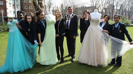 Sarah Bonnell School won a competition to get 150 free prom dresses for their year 11 girls. Sir Rob