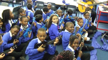 Year 3 pupils at St Winifred's take part in a Ukelele class