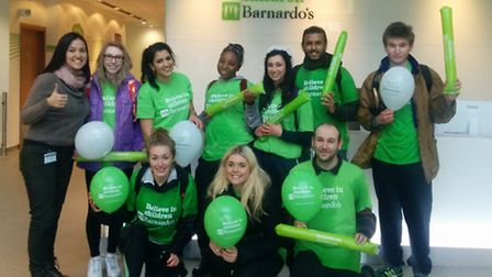 Mohammed, second on the right and Hannah, second from the left, completed the walk for charity