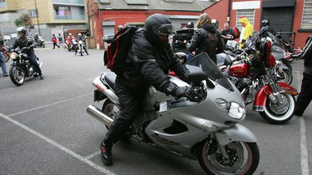 Charity bikers arrive at Community Links with their Easter eggs
