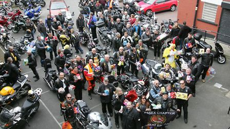 Charity bikers at Community Links with their Easter eggs