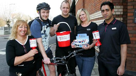 Ilford Debenhams Store Manager Simon Cuckow, cycled from the Romford to the Ilford store for Help fo
