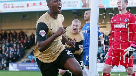 Marvin Bartley celebrates after equalising at Gillingham in December. Pic by Simon O'Connor