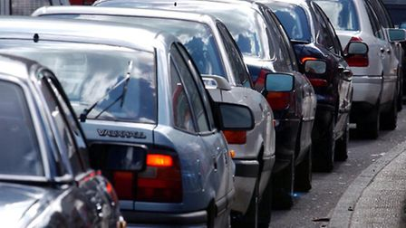 Heavy traffic contributes to air pollution.