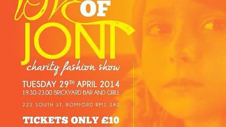 A poster for the charity fashion show on April 29