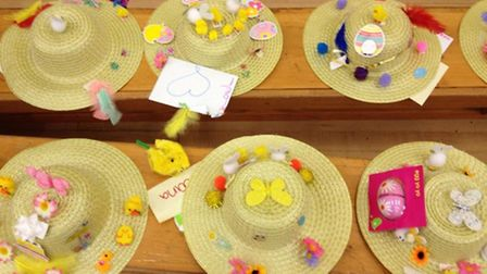 Just a few of the Easter bonnets designed by girl guides from the 1st Beckton Brownies