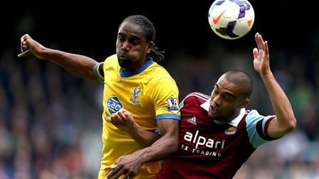 West Ham United's Winston Reid and Crystal Palace's Cameron Jerome compete for the ball during the B