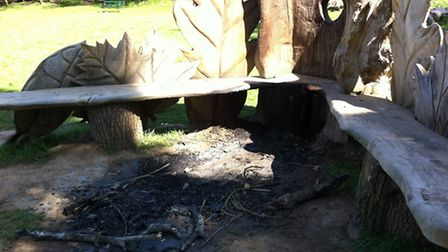 This bench in Bedfords Park was set on fire in an arson attack