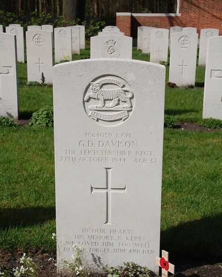 The headstone at lance corporal Davison's grave bears the inscription 'In our hearts his memory is k