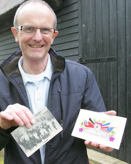 Andrew Skingley with some World War 1 post cards on display at Tythe Barn in Upminster