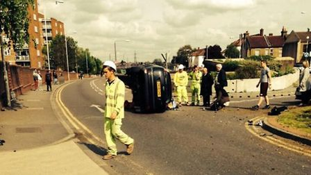 The wreakage from the crash in Wanstead on April 24. Photo: Avril Hahn