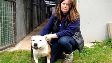 Kennel owner Dee Robinson, 50 with Dodger, an unclaimed stray