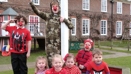 Pupils at St Felix School in Southwold raise funds on Red Nose Day.