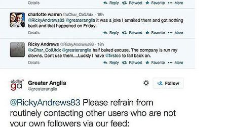 User @Rickyandrews83 had a dispute with Greater Anglia's Twitter team