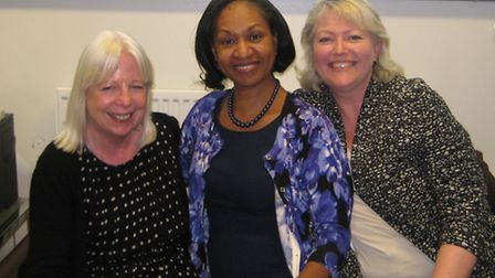 Pictured during the visit are left to right, Joy Consadine, Lorna Jackson, head teacher at Maryland