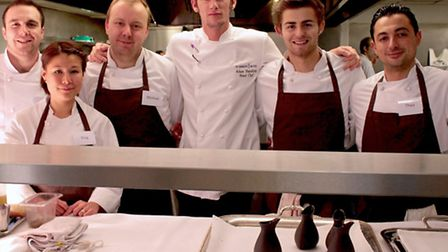Michael Sanders (third left) with his fellow competitors and MasterChef:The Professionals finalist 2