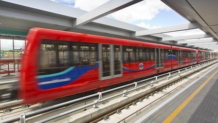 A DLR train pulls in to the new Pudding Mill Lane station which opened to the public today. Pic: Joh
