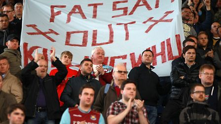 West Ham United's fans hold a protest banner against manager Sam Allardyce during the Barclays Premi