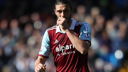 West Ham United's Andy Carroll during the Barclays Premier League match at The Hawthorns, West Bromw