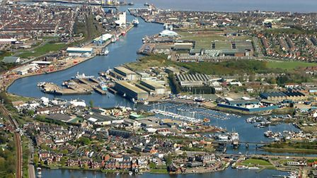 Picture shows: Lake Lothing looking towards Lowestoft Harbour and town. Picture credit: Mike Page.