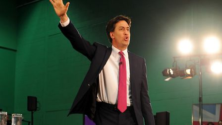 Ed Miliband speaks the Labour Party election campaign launch at Redbride Sports Centre Photo: David