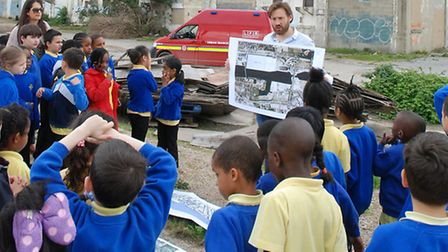 Paul Catternole expained the history of the site to children from Britannia Village primary school
