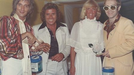 Rod Stewart with circus king Billy Smart Jnr, his wife, Hannalore, and Elton John