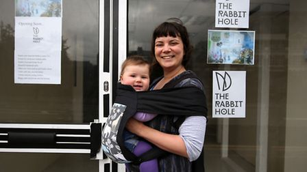 Mrs Nicci Yarnold and her daughter Eliza Aba outside their new shop The Rabbit Hold in Maryland whic