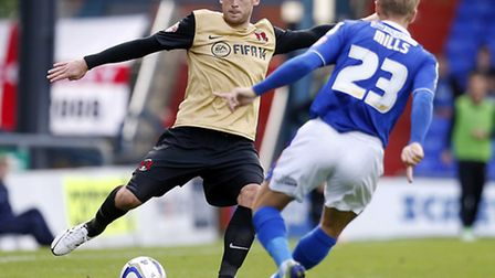 Scott Cuthbert in action earlier in the season at Oldham Athletic. Pic: Simon O'Connor