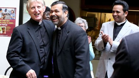 Peter Hill with the Archdeacon John Perumbalath. Peter was announced as the new Bishop of Barking in