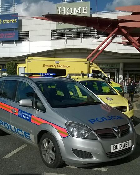 Police and ambulance outside The Brewery in Romford. Picture: Vicky Lee