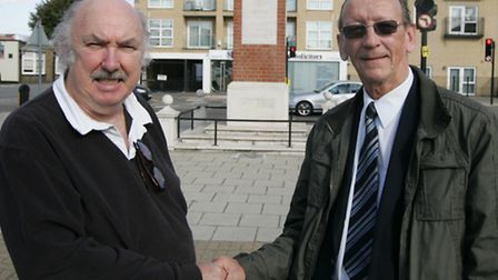 Jim O'Halloran, left, hands over the chairmanship of Goodmayes Residents Association to Keith Stanbu