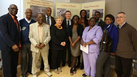 Speakers and people involved with the Exhbition in Stratford Library on the journey of sugar from th