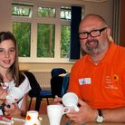 Paul Sullivan with Keira Stiff, one of the children attending a Family Support Service�s art day