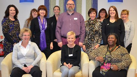 Paul Sullivan (centre rear) with Sue Spong (front centre) with a team of bereavement councillors